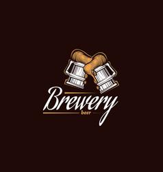 Vintage brewery logo beer retro badge taproom vector
