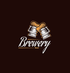 vintage brewery logo beer retro badge taproom vector image