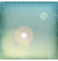 Vintage grunge sky background with sun flare vector image