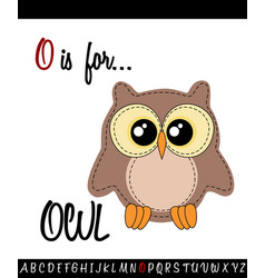 Vocabulary worksheet card with cartoon owl vector