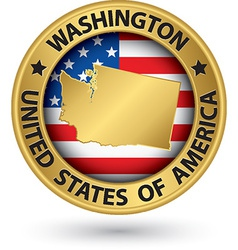 Washington state gold label with state map vector image