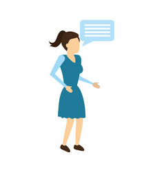 woman character speech bubble vector image