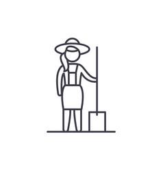 woman farmer line icon concept woman farmer vector image