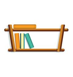 wood book shelf icon cartoon style vector image