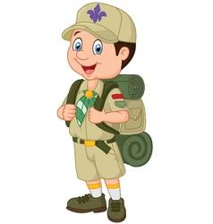Cartoon little boy scout vector image vector image