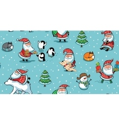 Christmas and New Year holiday pattern with funny vector image vector image