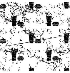 Fast food pattern grunge monochrome vector image