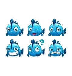 Funny cartoon blue fish vector image vector image