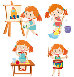 girl in blue dress doing different activities vector image vector image