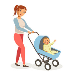 mother walks with son in blue baby carriage vector image vector image