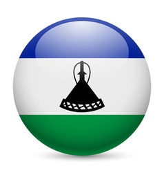 Round glossy icon of lesotho vector image