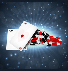 two aces with chips vector image vector image