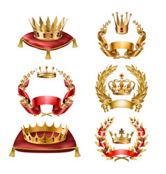 Icons golden crowns and laurel wreaths vector