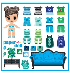 Paper doll with clothes set vector image