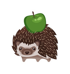 cartoon style of hedgehog with green apple vector image vector image