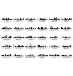 Incredible set of usa city skyline vector