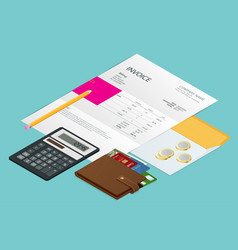 isometric single invoice calculator and credit vector image