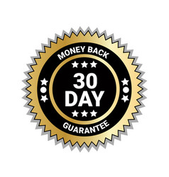 money back in 30 days guarantee seal golden medal vector image