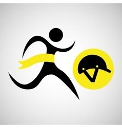 winner silhouette sport horse ridding helmet vector image