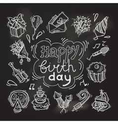 Birthday sketch chalkboard vector image