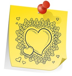 doodle sticky note heart wreath vector image vector image