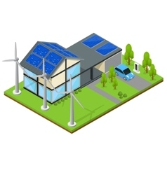 Green Eco House Isometric View vector image