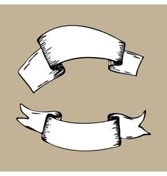 Vintage ribbon banners hand drawn set Menu vector image