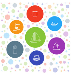 7 sailing icons vector image