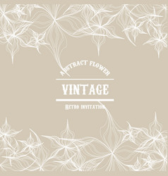 Abstract flower outline in vintage style te vector
