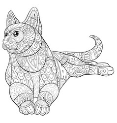 Adult coloring bookpage a cute cat image vector
