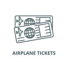 airplane tickets line icon airplane vector image