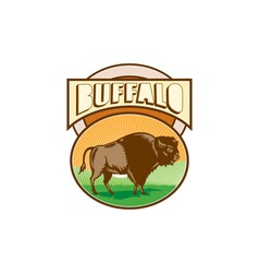 American Bison Buffalo Oval Woodcut vector