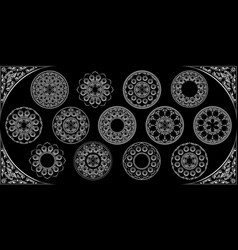 arabesque mandala design 3d round white silver vector image