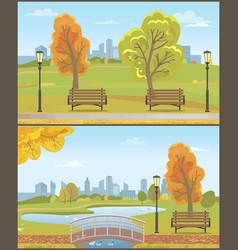 autumn autumnal park with cityscape set vector image