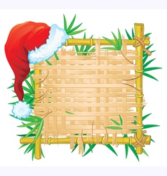 bamboo frame with santa hat vector image