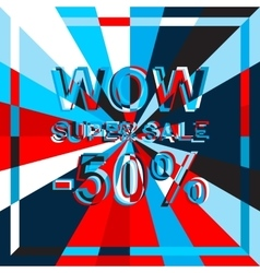 Big ice sale poster with WOW SUPER SALE MINUS 50 vector image