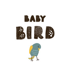 bird and hand drawn lettering - babird vector image