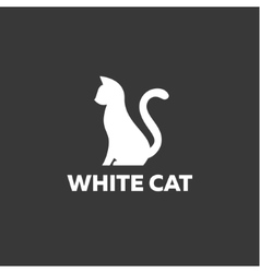 Black cat sitting on a white background Logo vector image