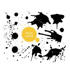 black paint spots - set decorative design vector image