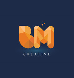 bm letter with origami triangles logo creative vector image