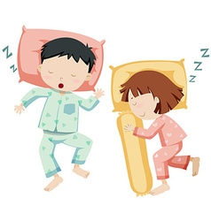 Boy and girl sleeping side by side vector