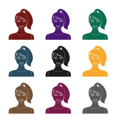 brunette icon in black style isolated on white vector image