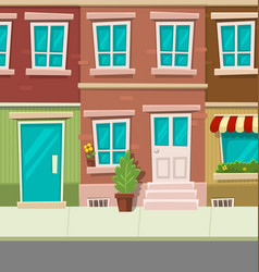 Cartoon city typical town street house brick wall vector