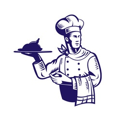 chef cook with roast chicken vector image