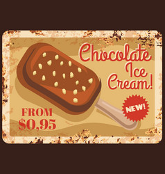 Chocolate popsicle ice cream rusty metal plate vector