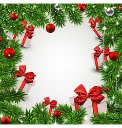 Christmas frame with fir branches and gift boxes vector