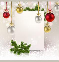 christmas greeting banner with christmas balls vector image