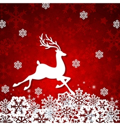 Christmas red background with deer vector