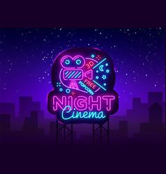 cinema night neon sign movie night design vector image