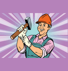 construction worker with hammer vector image